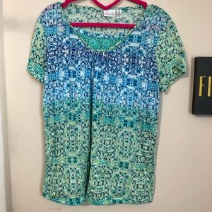 Kim Rogers Blue Green Boho Short Sleeve Top  L0120